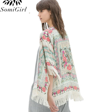 Fall 2017 Fashion Plus Size Women Tops Chiffon Blouse Retro Boho Floral Tassel Cardigan Kimono Coat