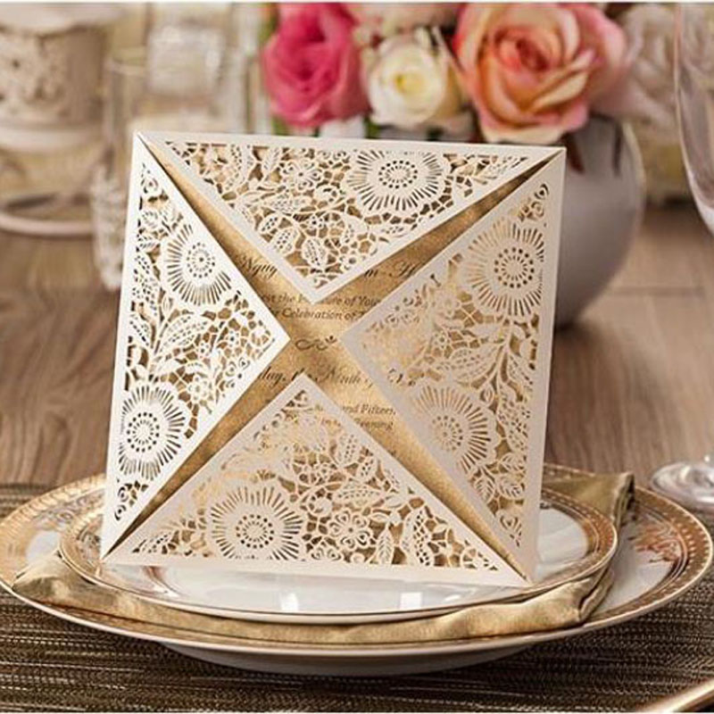 50pcs White Laser Cut Rose Flora Wedding Invitations Card Elegant Lace Casamento Wedding Event & Party Supplies Sale- square design white laser cut invitations kit blanl paper printing wedding invitation card set send envelope casamento convite