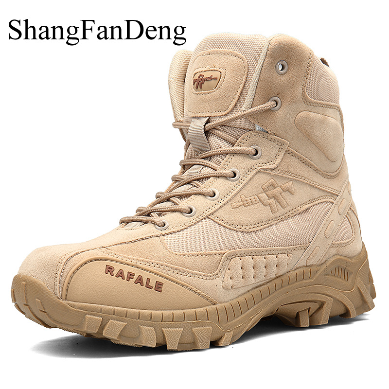 Military Tactical Men's Boots Special Force Leather Desert Combat Ankle Boot Army Work Shoes Plus Size 39-46 Outdoor Men Shoes