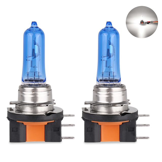 2 stuks Auto Auto H15 Super Wit Halogeen Lampen 12V 15/55W 6000K Hoge dimlicht koplamp Lamp Lampen Lichten Auto Lighte sourcing