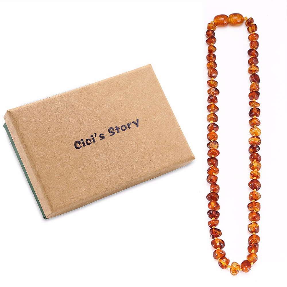 Baltic Amber Teething Necklace for Baby (Cognac) - 3 Sizes - Diy Beads Necklace-Natural Stones For Jewelry Making - Lab Tested