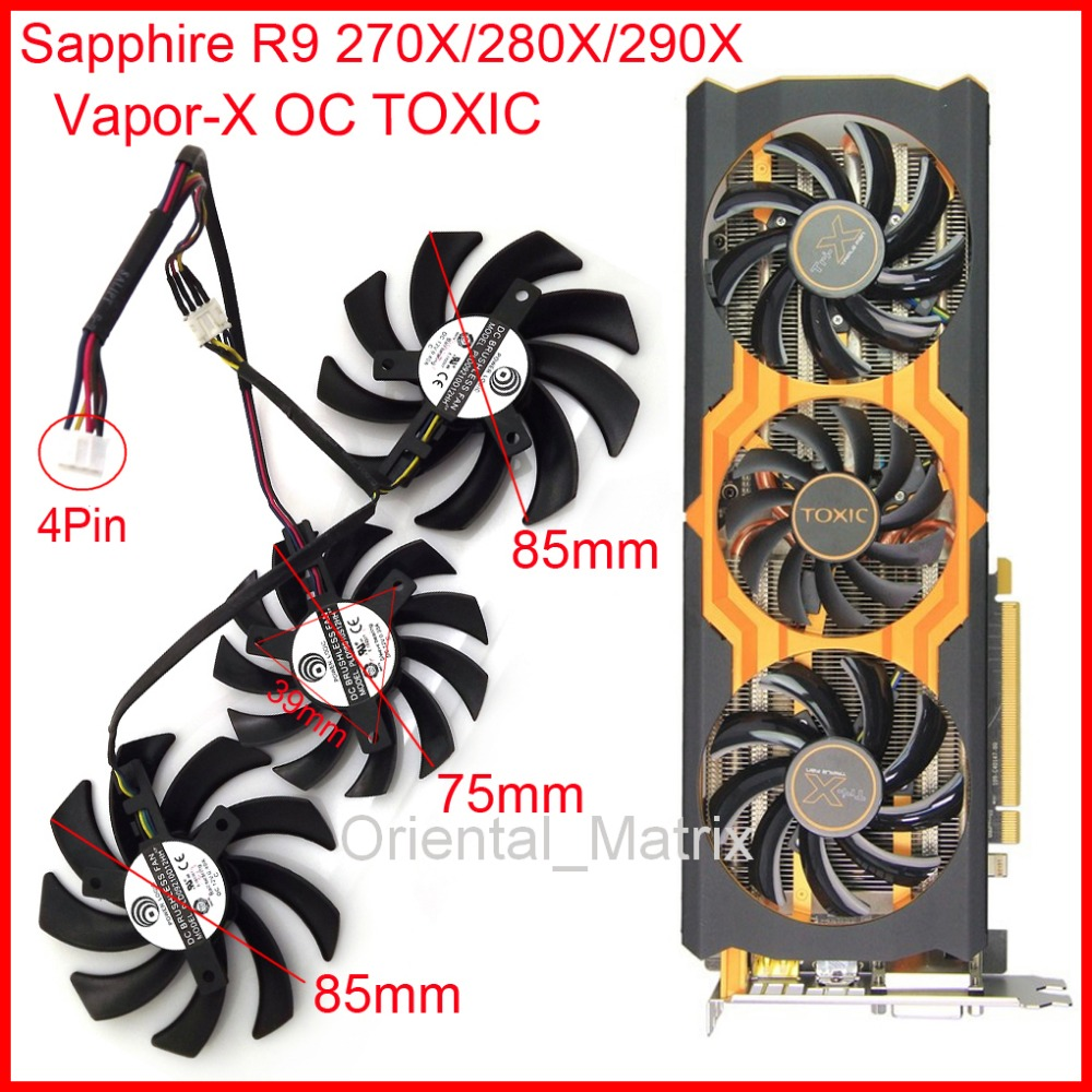Free Shipping 3pcs/Lot POWER LOGIC PLD09210D12HH/PLD08010S12HH DC12V 4Pin For Sapphire R9 270X/280X/290X Vapor-X OC TOXIC Fan