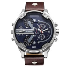 Luxury Men Watches Quartz Watch Men Fashion Wristwatches Leather Watch band Date Dual Time Display Military Watches Men Cagarny