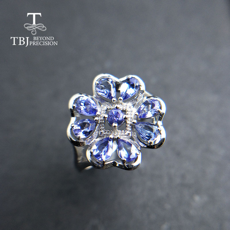 TBJ 2019 new flower 100 real blue tanzanite gemstone Ring 925 sterling silver fine jewelry for