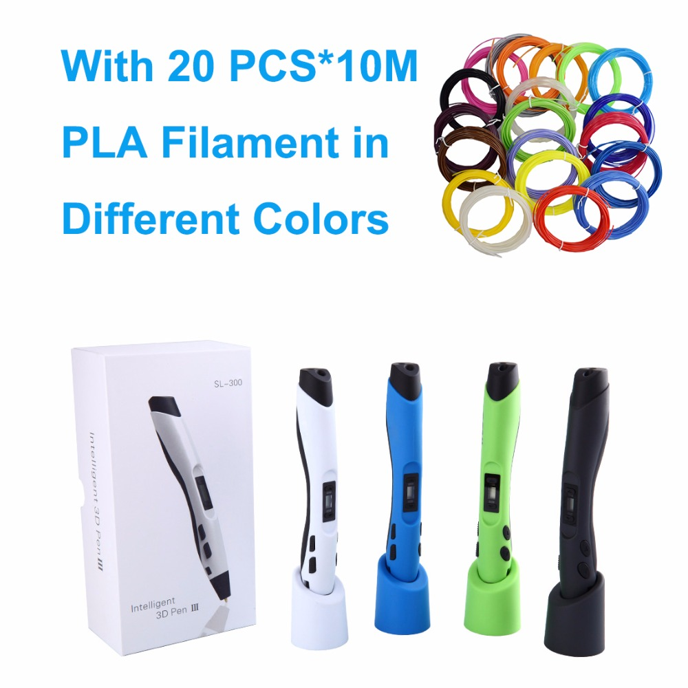 SUNLU SL-300 Children gift doodle toy pen 3D pen with extra 20 bags of 10M PLA filament total 200M  for 3d printing painting