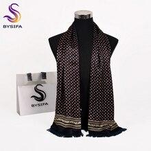 [BYSIFA] мужской деловой черный шелковый шарф, утолщенный, Осень-зима, мужской, натуральный шелк, длинные шарфы, галстуки, шейный шарф, галстук, 165*24 см