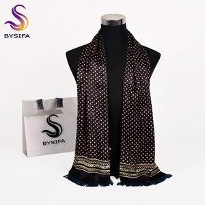 Image 2 - [Bysifa] homem negócios preto lenço de seda engrossar outono inverno masculino 100% natural seda longo cachecóis cravats pescoço cachecol gravata 165*24cm