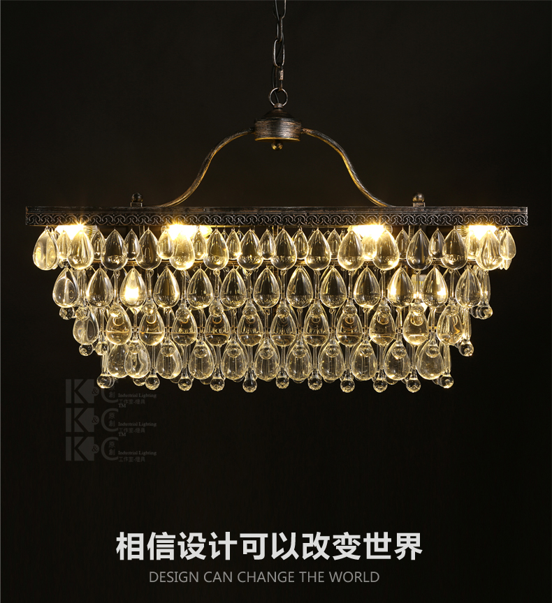 Northern Europe Creative Style Vintage Rectangle Crystal Pendant Light Parlor Light Coffee Shop Decoration Lamp Free Shipping 3 5 heads american industrial creative style vintage pendant light parlor light coffee shop decoration lamp free shipping