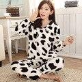 Lindo Panda Pijamas de Las Mujeres Ropa de Casa Pijamas Para Las Mujeres Caliente de Coral Polar Pijamas Ropa de Dormir Pijama mujer ropa de dormir