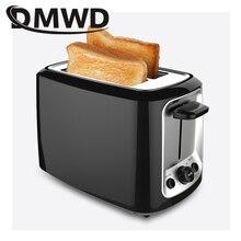 DMWD 2 ломтика электрический тостер из нержавеющей стали Автоматическая хлебопечка для завтрака машина для выпечки два слота тост сэндвич гриль печь