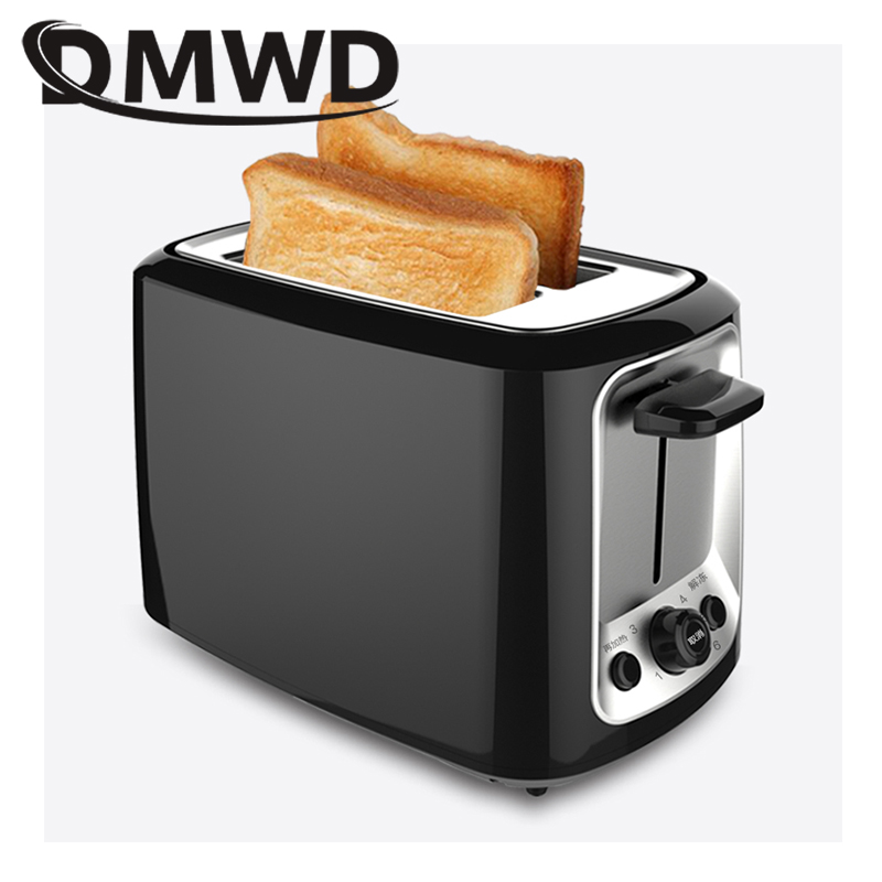 DMWD 2 Slices Electric Stainless Steel Toaster Automatic Bread Maker Breakfast Baking Machine Two Slot Toast Sandwich Grill Oven