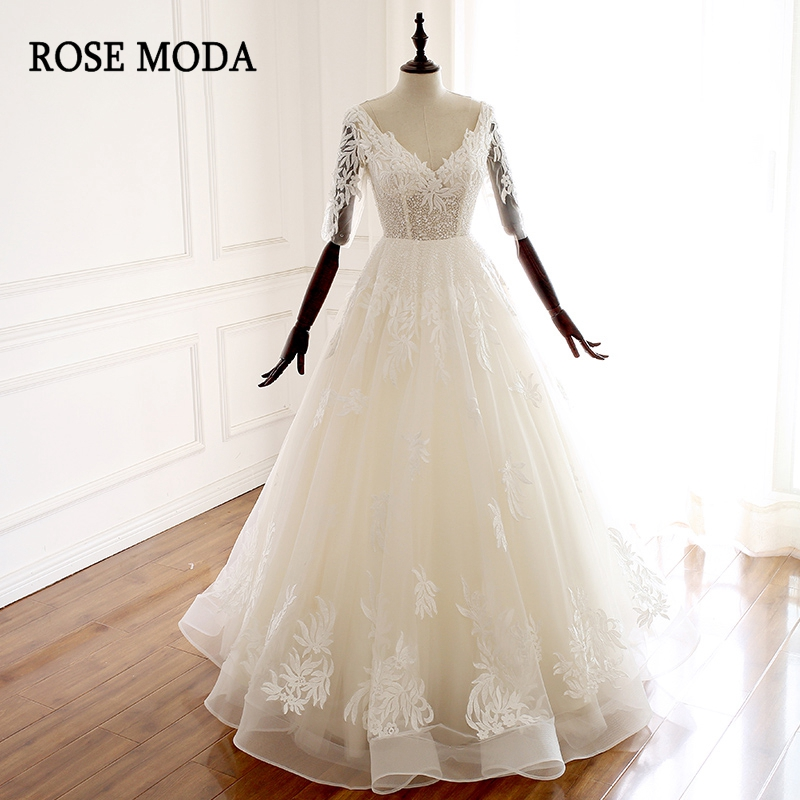 Rose Moda Stunning V Neck Wedding Dress Lace 2019 Long Sleeves Wedding Dresses Ball Gown Lace Up Back Real Photos