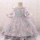 Newborn Baby Baptism Dress Baby Girl Party Dresses Girl Embroidery Half Sleeve Dress 1 Year Birthday Baby Girls Dress L5015xz