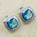 Simulated Aquamarine 925 Sterling Silver Earrings TE605