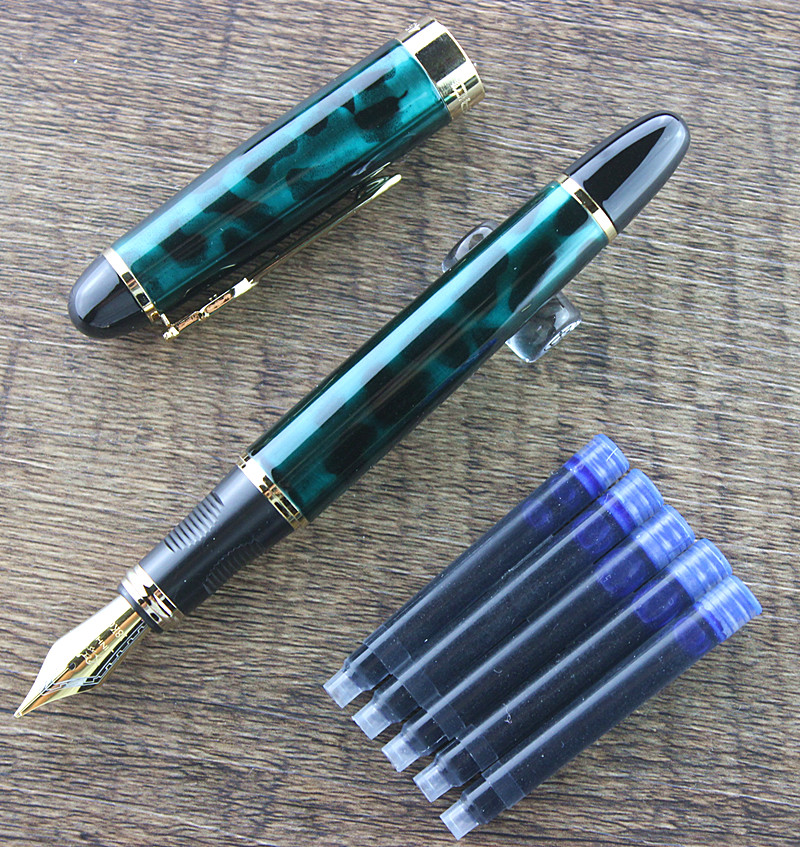 Jinhao genuíno 450 uma caneta tinteiro de metal cheio jinhao x450 ouro caneta clipe dourado 0.5mm médio nib material de escritório negócios