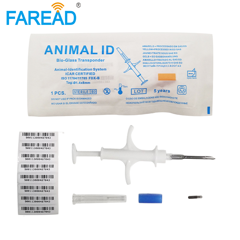 x10pcs 134.2Khz 1.4x8mm small bioglass chip dog PIT tag veterinary syringe RFID Microchip for chicken fish Arowana Identificate-in IC/ID Card from Security & Protection