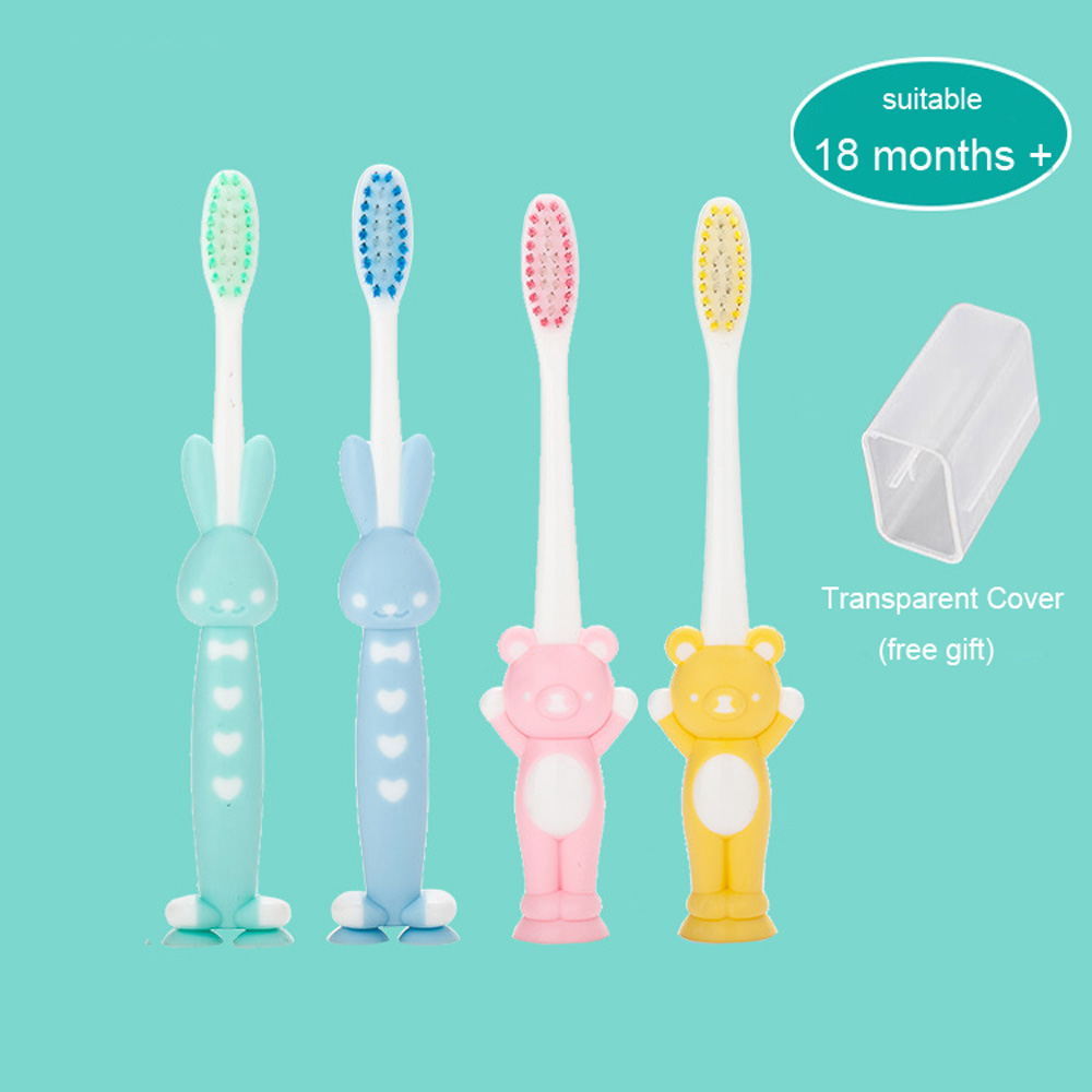 2PC Baby Cartoon Toothbrush Toddler baby Oral Care Clean Child Silicone Dental Brush Kid Soft Training Teeth Brush dropshipping image