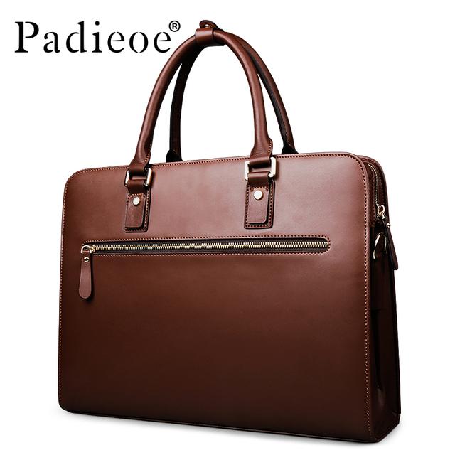 Padieoe Vintage Cowhide Leather Briefcase Men Business Laptop Tote Bags Casual Men's Leather Messenger Shoulder Bag Handbags