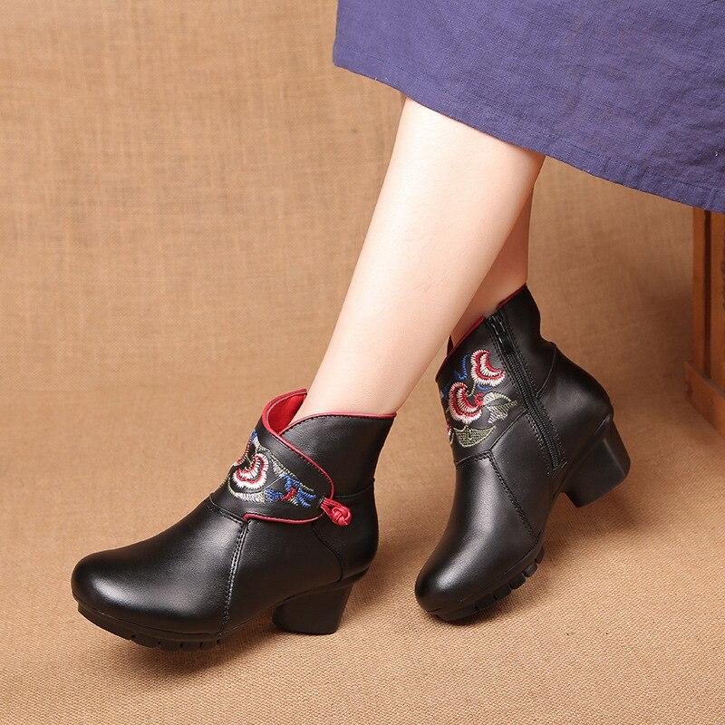 540973a19bb Mujeres Empuje Otoño Invierno Tacones Genuino Zapatos De Martin Gruesos  Casual 2018 Negro Gran Botas Cuero Tamaño Eg7d7q