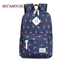 Miyahouse Cartoon Flamingo Printed School Backpack For Girls Canvas Design Travel Backpack For Teenager Classic Backpack