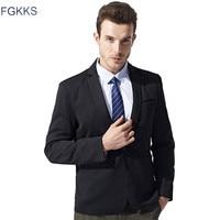 FGKKS 2017 New Spring Fashion Men Blazers Cotton Slim Drop Shipping Male Jacket Blazer Men