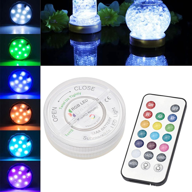 LED RGB Submersible Vase Hookah Light Lamp IP68 Waterproof Party Decor