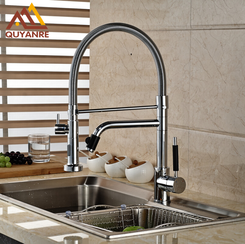 Chrome Double Spout Pull Down Kitchen Sink Mixer Water Faucet with Hot and Cold Water Hose