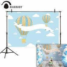 Allenjoy arka plan fotoğraf stüdyosu için mavi gökyüzü beyaz bulut altın mavi sıcak hava balon doğum günü backdrop özelleştirmek photocall