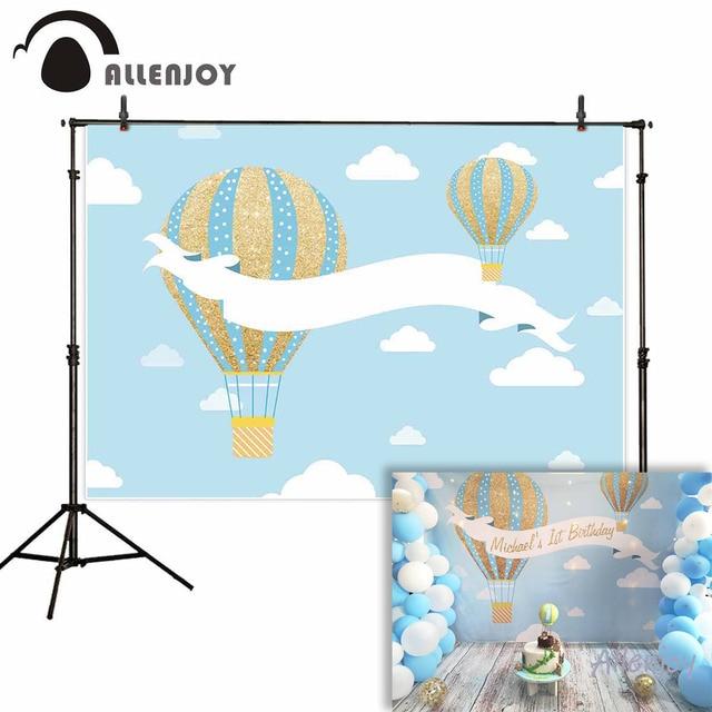 사진 스튜디오에 대 한 allenjoy 배경 푸른 하늘 흰 구름 골드 블루 뜨거운 공기 풍선 생일 배경 photocall 사용자 지정