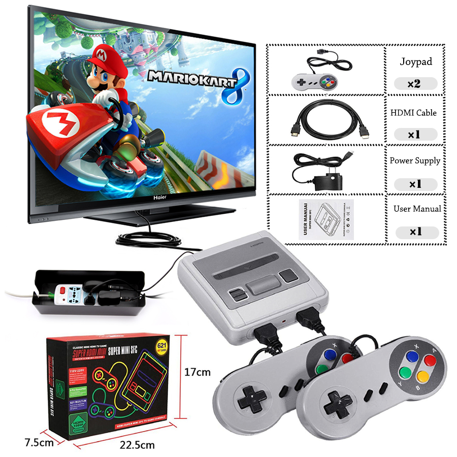Super Mini HDMI Family TV 8 Bit SNES Video Game Console Retro Classic HDMI HD Output TV Handheld Game Player Built-in 621 Games game console mini 4k hdmi output tv handheld 8 bits video game console built in 621 retro classic games for tv pal ntsc us plug