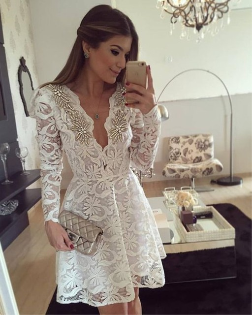 New 2017 A line V neck Lace Beading Crystal Full Sleeves Custom Made Knee Length Cocktail Dresses for party RG28