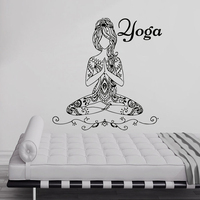 Abnehmbare buddha yoga mädchen namaste wandtattoos yoga mandala wandaufkleber diy wohnzimmer yoga raumdekor tapete ny-373