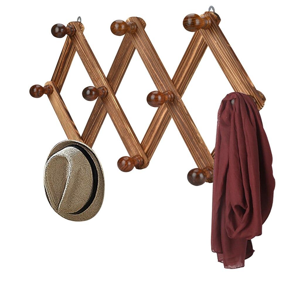 10 Hook Wood Expandable Rack Coat Hanger Wall Mounted Accordion Style