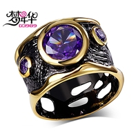 DC1989 Party Free Shipping Amethyst Round Shape Cubic Zirconia 18K Gold Black Plated Evening Cocktail Rings