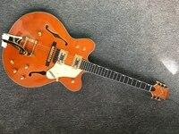 China OEM Gretsch G6122 Hollow Jazz Electric Guitar Big jazz vibrato system orange color jazz guitar gold hardware free shipping