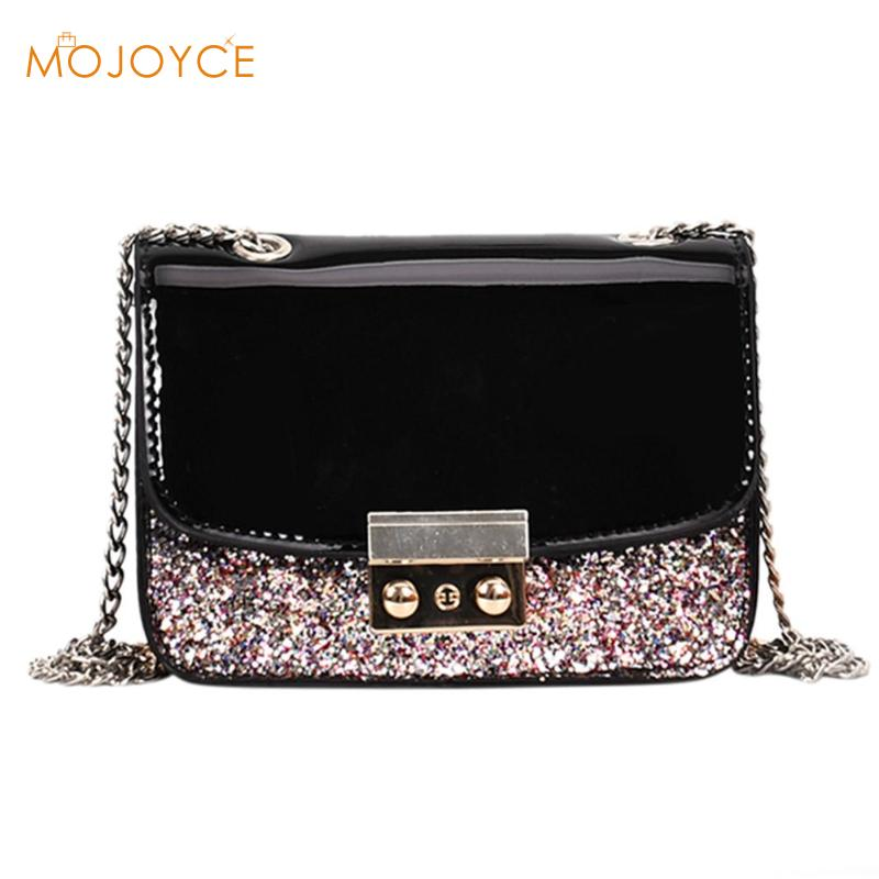 Fashion Women Sequined Messenger Bag Quality PU Leather Womens Flap Bag Chain Strap Female Shoulder Bag Lay Crossbody Bags PEPU