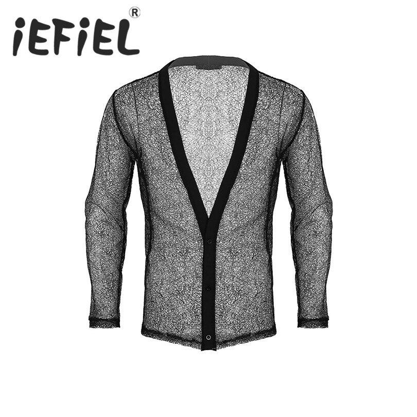 New Arrival Fashion Sexy Mens Fashionable See Through Hollow Fishnet Long Sleeve Jacket Clubwear Top Mesh Nightwear T-Shirt