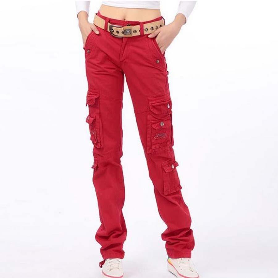 574b7618c98 Women Cargo Pants Casual Trousers Plus Size 28-38 Spring Autumn Cotton Pockets  Pants Pants