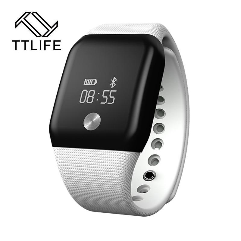 TTLIFE A88 Brand Water Resistant Alarm Clock Smart Bracelet Heart RateMonitor Step Counter Smartband for Smartphone