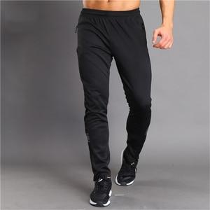 Image 1 - Nefes bisiklet koşu pantolonları erkek spor Joggers koşu pantolon Zip cep eğitim spor pantolonları koşu tenis futbol