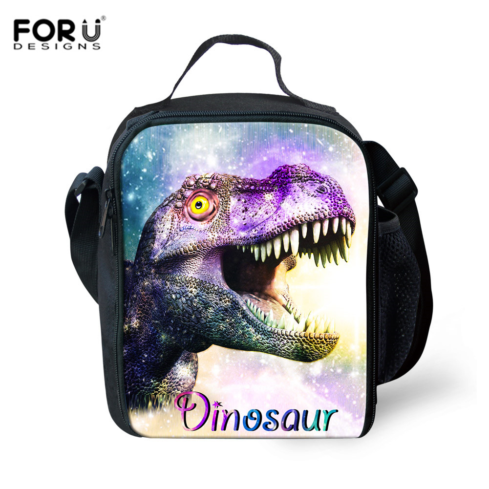 FORUDESIGNS Galaxy Dinosaur Printing Childrens Lunch Bag Totes Cute Lunchbox Bags Kids Insulated Food Bag Women Picnic Handbag