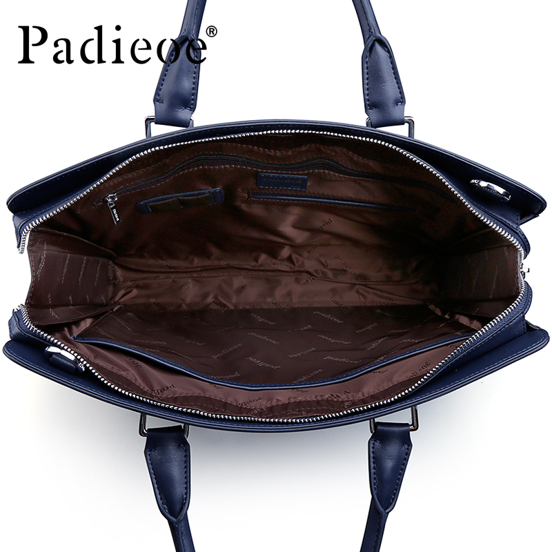 Padieoe Genuine Leather Business Men's Briefcase For Documents Luxury Fashion Casual Real Cowhide Leather Shoulder Bag For Man