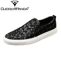 CUDDLYIIPANDA 2018 Men Loafers Sequins Slippers Flats Banquet Wedding Men Dress Shoes Genuine Leather Casual Black