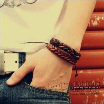 2pcs /lot bracelet  bangles Charm Leather Rope Bracelet  for men and women fashion jewelry wholesale bracelets free shipping