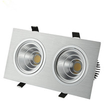 Free Shipping Silver shell 20w Double Dimmable COB Led Ceiling down light Warm White/White/Cold White AC85-265V