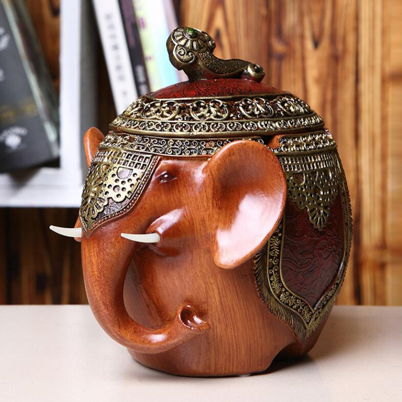 Lucky Elephant Ashtrays Souvenir Gift Elephant Ornaments Ashtray With Cover Home Fengshui Decoration Accessories Retro Jar 05504