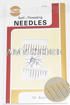 1 pack Selbst Threading Nadeln, Pack Von 12 Mit Assorted Größe & Guilded Top, Einfach Nähen