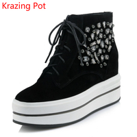 2018 Superstar Cow Suede Crystal Winter Boots Round Toe Keep Warm Increased Lace Up Platform Wedges