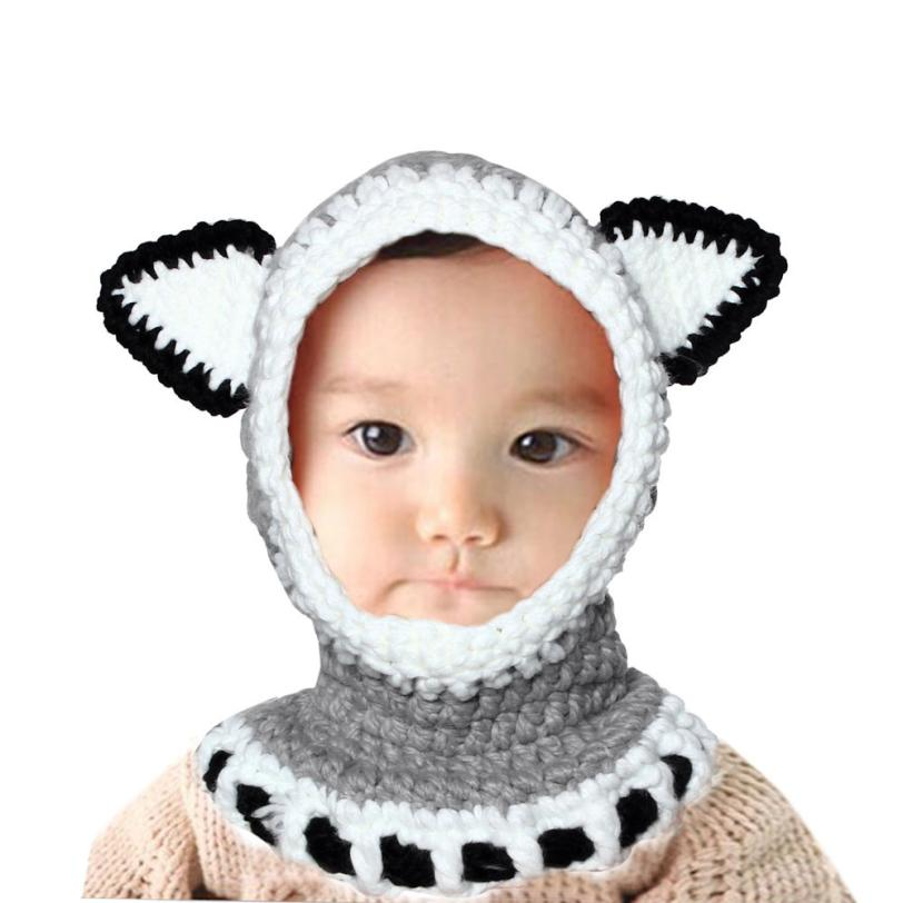 Winter Wool Knitted Fox Hats Baby Girls Shawls Hooded Cowl Beanie Caps baby cap drop shipping & wholesale