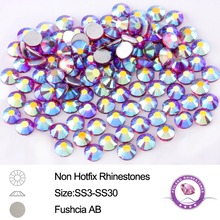 288-1440pcs Full Sizes Fuchsia AB Non Hotfix Rhinestones Glass Crystals For Nail Arts DIY Designs